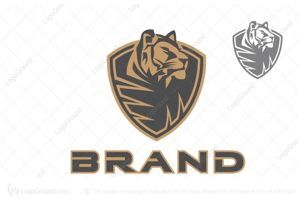 Logo for sale: Tiger On The Shield Logo
