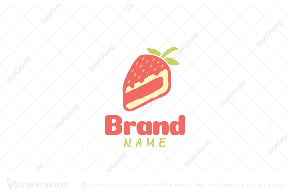 Logo for sale: Strawberry Cheesecake Fruit Logo