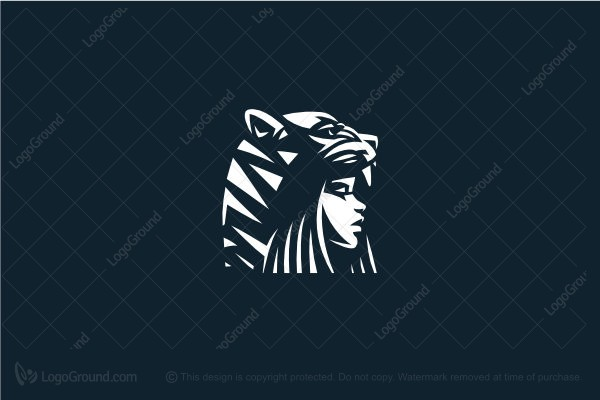 Logo for sale: Tiger Hat Woman Logo