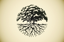 Round Oak Tree Logo
