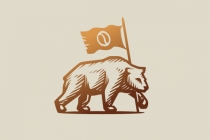 Bear And Flag Logo